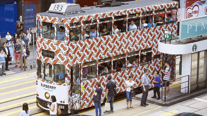 Peter Saville's new Burberry design on a tram in Hong Kong