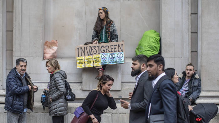 Extinction Rebellion protest in the city outside the Bank of England this morning.