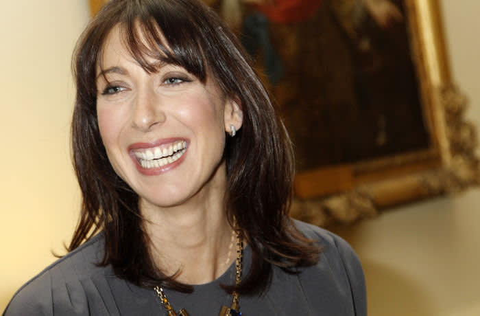 LONDON - FEBRUARY 18: Samantha Cameron, the wife of the British Prime Minister, hosts a reception to celebrate the opening of London Fashion Week 2011 at 10 Downing Street on February 18, 2011 in London, England. (Photo by Luke MacGregor/WPA Pool/Getty Images)
