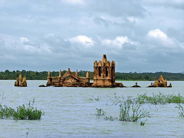 Partially submerged by backwaters of Hemavathy reservoir, Holy Rosary Church at Shettyhalli. Island, Holy Rosary Church at Shettihalli, © British Council designed by John Morgan Studio, photo by Bhaskar Dutta