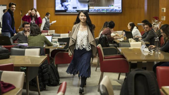 Faith Xu Jieqiong in the cafeteria of Iese Business school, Barcelona