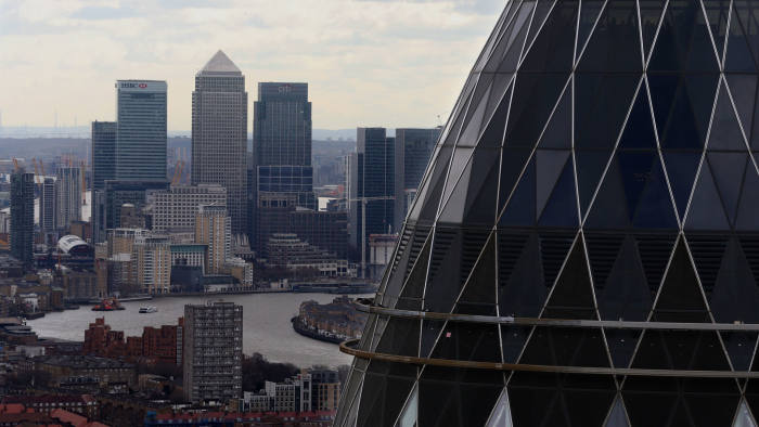 File photo dated 09/03/17 of the London skyline as seen from Tower 42 with the 'Gherkin' (foreground), 30 St Mary Axe and Canary Wharf (background) prominent. A record number of Britain's finance chiefs are bracing for the worst and hoarding cash as they anticipate a damaging Brexit. PRESS ASSOCIATION Photo. Issue date: Monday April 15, 2019. Deloitte???s survey of chief financial officers shows more than eight in 10 - 81% - believe the long- term business environment will be worse as a result of Brexit, the highest figure since the referendum. See PA story CITY CFOs. Photo credit should read: Chris Radburn/PA Wire