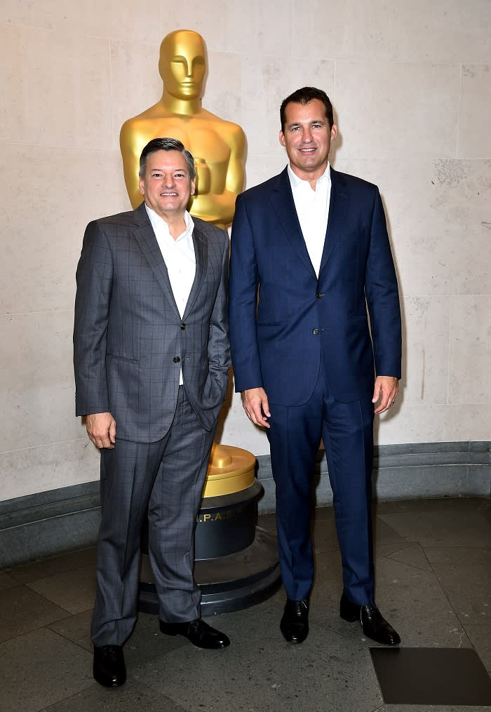 Ted Sarandos and Scott Stuber attending the Academy of Motion Picture Arts and Sciences New Members Party at The National Gallery, London.