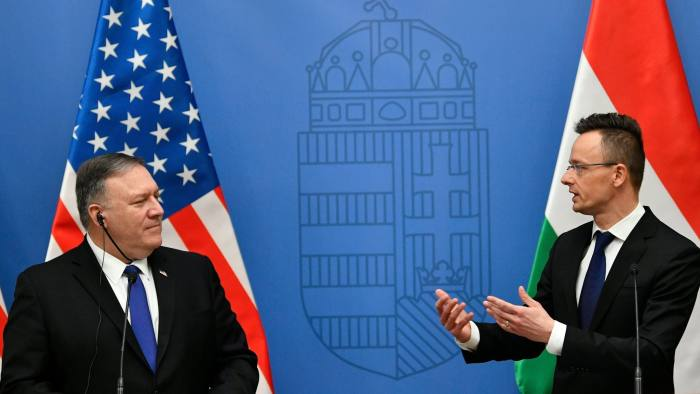 Mandatory Credit: Photo by Zsolt Szigetvary/EPA-EFE/REX/Shutterstock (10101773a) Hungarian Minister of Foreign Affairs and Trade Peter Szijjarto (R) and US Secretary of State Mike Pompeo hold a joint press conference after their meeting in the ministry in Budapest, Hungary, 11 February 2019. Pompeo is on an official visit to Hungary. US Secretary of State Mike Pompeo in Hungary, Budapest - 11 Feb 2019