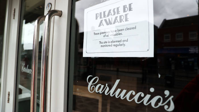 A closed Carluccio's restaurant in West Bridgford, Nottingham after the company announced that it has entered into administration, putting more than 2,000 jobs at risk. PA Photo. Picture date: Monday March 30, 2020. See PA story HEALTH Coronavirus. Photo credit should read: Tim Goode/PA Wire