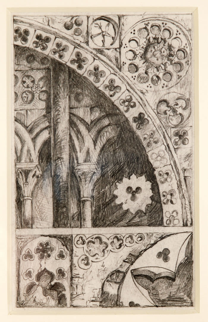 John Ruskin Pierced Ornaments from Lisieux, Bayeux, Verona, and Padua', Sketch towards 'The Seven Lamps of Architecture' c.1849 Pencil on paper © Collection of the Guild of St George / Museums Sheffield