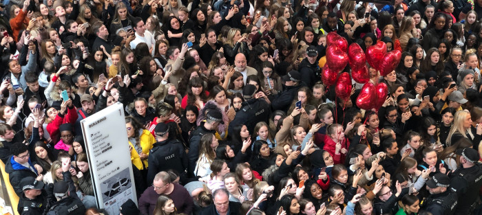 Thousands of teenagers flocked to Birmingham's Bullring to see YouTube star James Charles