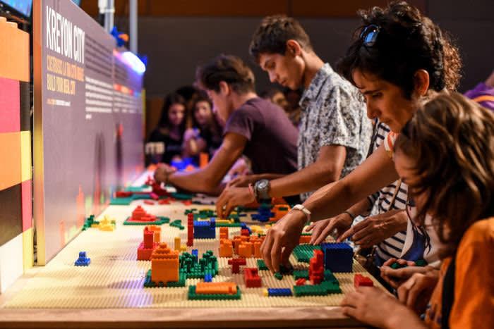 Lego builders at work on Kreyon City