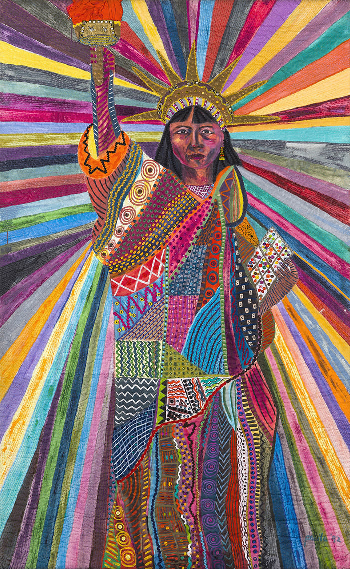 Pacita Abad, L.A. Liberty, 1992, Acrylic, cotton yarn, plastic buttons, mirrors, gold thread, painted cloth on stitched and padded canvas, 239 × × 147 cm, Courtesy of Silverlens Galleries