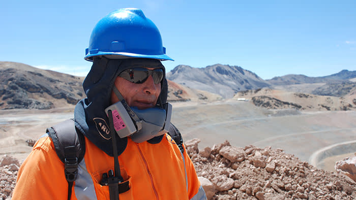 Otilio Huanca, who works at the Arasi gold mine in the Peruvian Andes