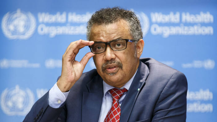 """Tedros Adhanom Ghebreyesus, Director General of the World Health Organization (WHO), speaks to the media after the International Health Regulations Emergency Committee on Ebola in Congo, in Geneva, Switzerland, Wednesday, Oct. 17, 2018. The World Health Organization says it is """"deeply concerned"""" by the ongoing Ebola outbreak in Congo but the situation does not yet warrant being declared a global emergency. (Salvatore Di Nolfi/Keystone via AP)"""