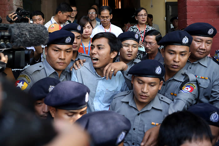 Reuters journalist Kyaw Soe Oo arrives at the court in Yangon, Myanmar January 10, 2018. REUTERS/Stringer NO RESALES NO ARCHIVES - RC1AFBD5AC60