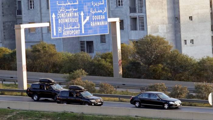 A convoy of Algeria's President Abdelaziz Bouteflika is pictured while driving along the highway in Algiers, Algeria March 10, 2019. REUTERS/Ramzi Boudina