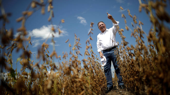 Brazil's Agriculture Minister Blairo Maggi attends opening ceremony of Grain Harvest in Caseara, Brazil February 15, 2018. REUTERS/Ueslei Marcelino - RC1AD1A4F920