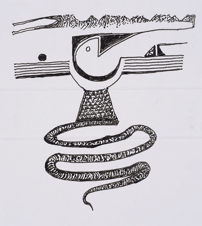 IBRAHIM EL-SALAHI Pain Relief Drawing, 2016-2018 Pen and Ink on the back of a medicine packet 11.3 x 10 cm 4 1/2 x 4 inches