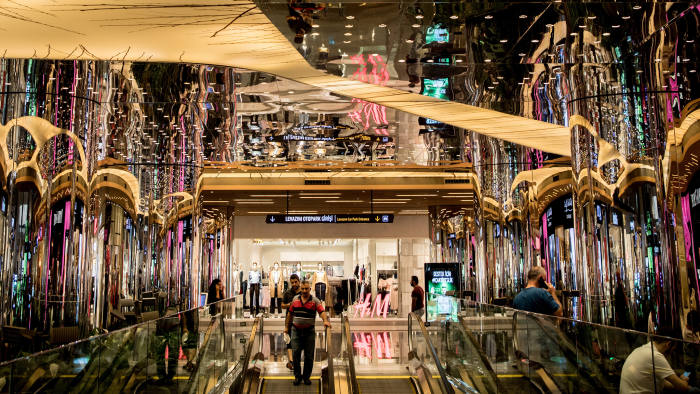 ISTANBUL, TURKEY - AUGUST 15: People shop at the Zorlu luxury shopping mall on August 15, 2018 in Istanbul, Turkey. The Turkish Lira recovered to trade at 6.1 USD despite President Erdogan announcing Turkey will boycott U.S. electronic goods, including Apple products, and raised tariffs on imported products from the United States including luxury goods, passenger cars, tobacco and spirits. The Trump administration has demanded that American pastor Andrew Brunson be released immediately and hinted at further economic measures against Turkey if he is kept under house arrest. (Photo by Chris McGrath/Getty Images)