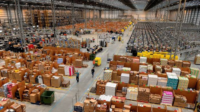 A picture shows the Fulfilment Centre for online retail giant Amazon in Peterborough, central England, on November 28, 2013, ahead of Cyper Monday on December 2nd, expected to be one of the busiest online shopping days of the year. AFP PHOTO/ANDREW YATES (Photo credit should read ANDREW YATES/AFP/Getty Images)