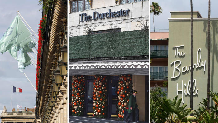 """A combination of pictures created in London on March 31, 2019 shows the facades of five of the nine Dorchester Collection hotels owned by Brunei: (top L-R) Hotel Meurice in Paris, The Dorchester in London, The Beverly Hills Hotel in Los Angeles, (bottom L-R) The Hotel Plaza Athenee in Paris and The Hotel Bel-Air in Los Angeles. - British pop legend Elton John has joined """"friend"""" George Clooney in calling for a boycott of nine Brunei-owned hotels over the sultanate's new death-penalty laws for gay sex and adultery. The Dorchester Collection of nine hotels owned by the government of Brunei are located in Britain, US, France and Italy. Brunei is an absolute monarchy, which has been ruled for 51 years by Sultan Hassanal Bolkiah. (Photo by AFP) (Photo credit should read FRED DUFOUR,FREDERIC J. BROWN,BEN STANSALL,STEPHANE DE SAKUTIN/AFP/Getty Images)"""