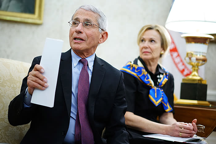 Anthony Fauci, director of the National Institute of Allergy and Infectious Diseases, and Deborah Birx, White House coronavirus response co-ordinator, have been two of Trump's key advisers and the main public faces of the crisis