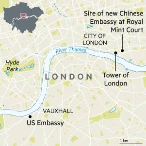 Chinas Uk Embassy Plans New Home On Site Of Royal Mint Financial - Us-embassy-london-map