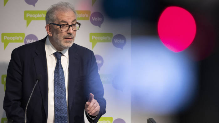 LONDON, ENGLAND - APRIL 03: Former head of the Home Civil Service Lord Bob Kerslake speaks at a 'People's Vote' press conference on April 3, 2019 in London, England. Prime Minister Theresa May is due to meet Labour leader Jeremy Corbyn today in an attempt to agree a plan on Britain's future relationship with the EU and the withdrawal agreement. (Photo by Dan Kitwood/Getty Images)