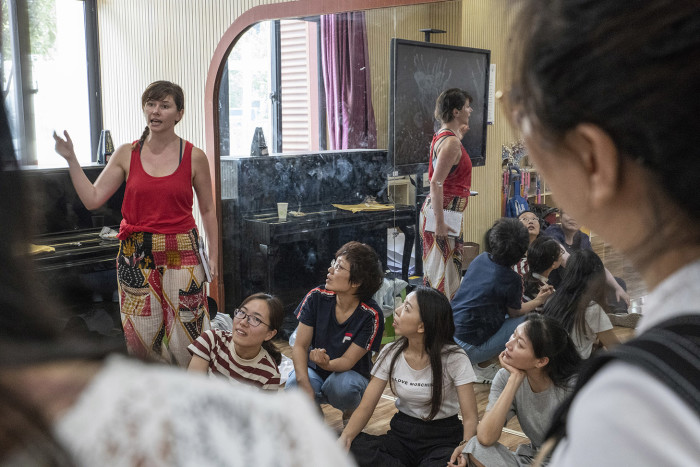 Zhengzhou, Henan, China, August 16th, 2018 Olivia Mace, of The Globe Theatre, with English teachers, during a week long theatre workshop based on Shakespeare story-telling. Gilles SabriÈ for The Financial Times