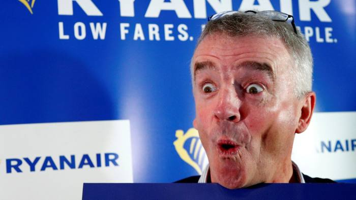 FILE PHOTO: Ryanair CEO Michael O'Leary poses after a news conference in Machelen near Brussels, Belgium October 9, 2018. REUTERS/Francois Lenoir/File Photo