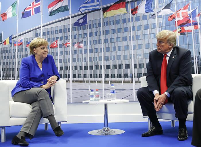 President Donald Trump and German Chancellor Angela Merkel during their bilateral meeting, Wednesday, July 11, 2018 in Brussels, Belgium. (AP Photo/Pablo Martinez Monsivais)