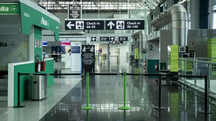 17 March 2020, Italy, Rome: A general view of the empty terminal 1 of Leonardo da Vinci airport, amid the Coronavirus outbreak. Photo: Roberto Monaldo/LaPresse via ZUMA Press/dpa