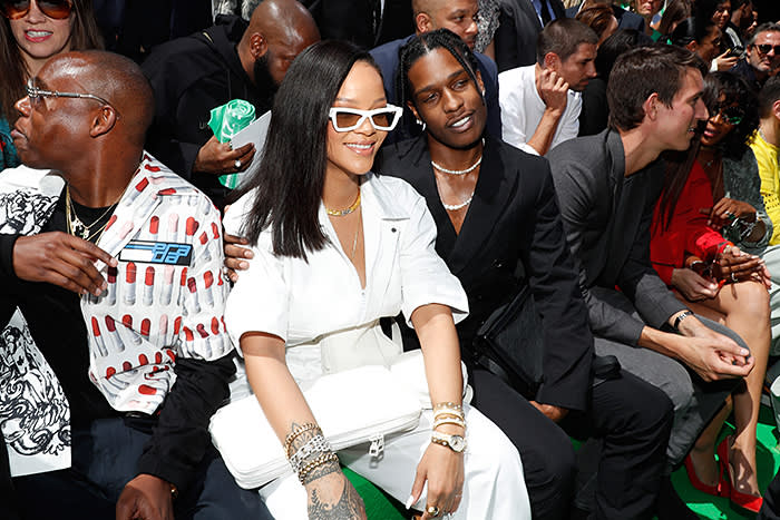 PARIS, FRANCE - JUNE 21: Singer Rihanna and rapper ASAP Rocky attend the Louis Vuitton Menswear Spring/Summer 2019 show as part of Paris Fashion Week on June 21, 2018 in Paris, France. (Photo by Bertrand Rindoff Petroff/Getty Images)