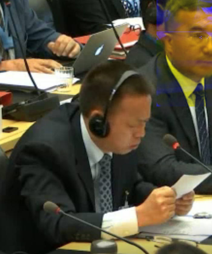 Hu Lianhe defends the security campaign in Xinjiang before the UN Committee on the Elimination of Racial Discrimination in August last year