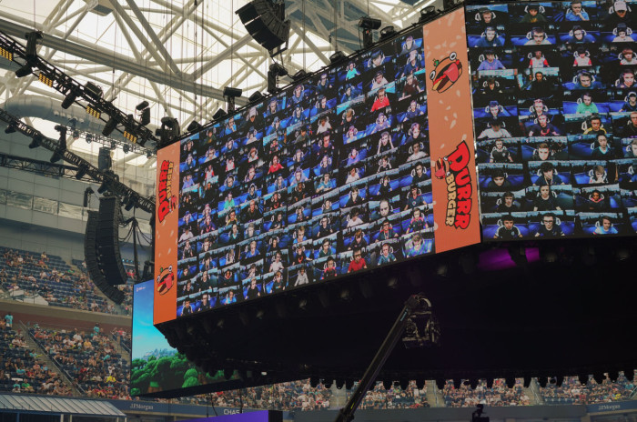 Competitors for the 'Fortnite' World Cup shown on the big screens at Arthur Ashe stadium, New York