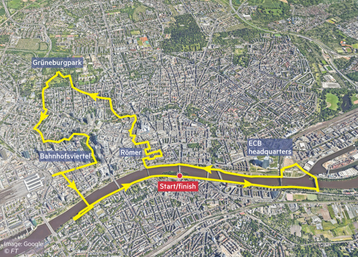 Map showing running/cycling route in Frankfurt