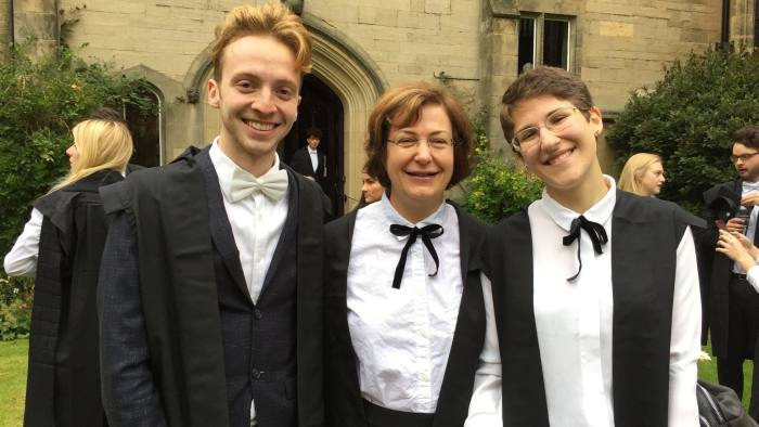 English Literature BA students at Harris Manchester College, Oxford, at our Matriculation. Left to right: Derek Mitchell, aged 23, Nicole Sochor, aged 58, Maria Kling, aged 21.