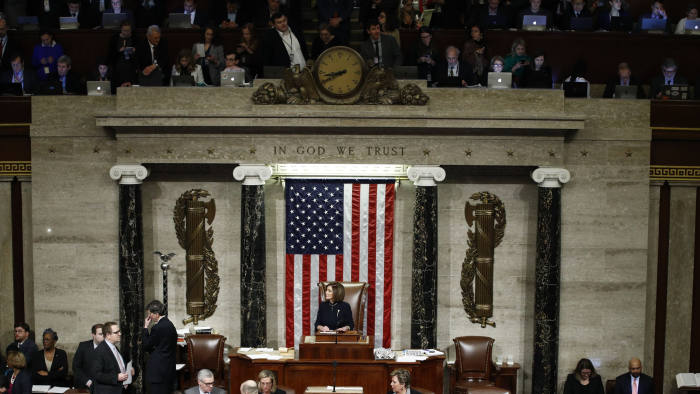 House Speaker Nancy Pelosi of Calif., speaks during a vote on the articles of impeachment against President Donald Trump, Wednesday, Dec. 18, 2019, on Capitol Hill in Washington. (AP Photo/Patrick Semansky)