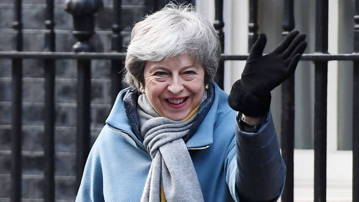 Mandatory Credit: Photo by ANDY RAIN/EPA-EFE/REX/Shutterstock (10155659af) British Prime Minister, Theresa May leaves Downing Street in London, Britain, 14 March 2019. Members of Parliament are set to vote on whether to ask European Union for permission to delay Brexit later in the day after they rejected no-deal Brexit on 13 March. Cabinet Meeting ahead of vote to delay Brexit, London, United Kingdom - 14 Mar 2019
