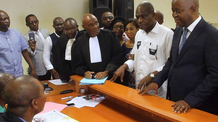 Democratic Republic of Congo opposition presidential candidate Martin Fayulu (2nd R), files an appeal with his legal team at the Constitutional Court in Kinshasa, on January 12, 2019, challenging the results of the December 30, 2018 presidential election. - Fayulu, who came second in DR Congo's presidential election, has appealed to the Constitutional Court to annul the provisional result which awarded victory to his opposition rival, his lawyer said on January 12, 2019. (Photo by STRINGER / AFP)STRINGER/AFP/Getty Images