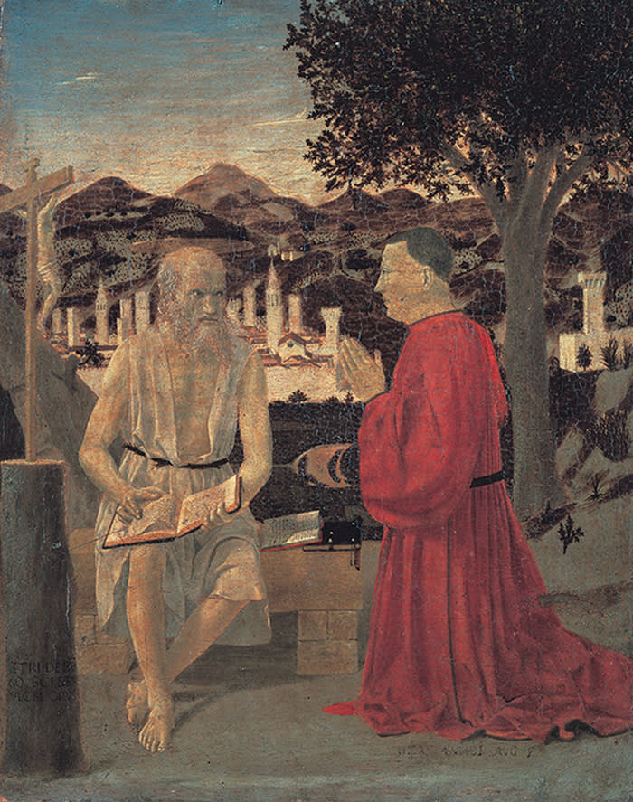 Piero della Francesca Saint Jerome and the donor Girolamo Amadi, 1440 - 1450 Tempera on wood, 49x42 cm Venice, Gallerie dell'Accademia