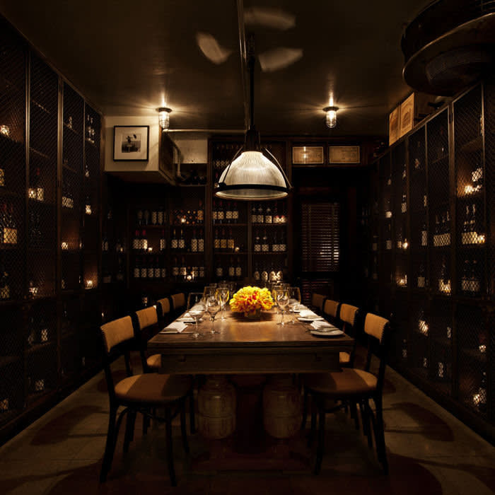 Wine Cellar at Aretsky's Patroon NYC, one of the private dining rooms.