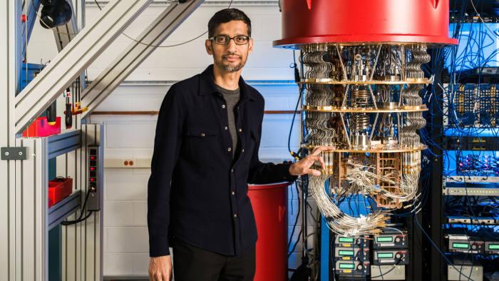 CEO Sundar Pichai of Google with the quantum computer, called Sycamore. Google Quantum Supremacy. photos Courtesy of Google