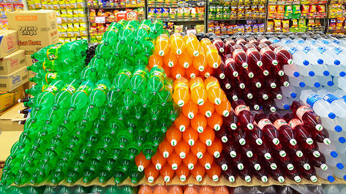 Soft drinks on sale at a Malaysian supermarket