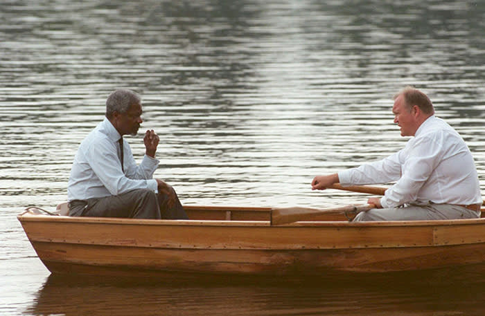 FILe - In this file photo dated Sunday, 10 Aug, 1997, Swedish Prime Minister Goran Persson, right, and UN General Secretary Kofi Annan, sit in a rowboat on a lake near the Swedish premiere's summer residence in Harpsund, Sweden. It is a tradition many decades old for the Swedish Prime Minister to row at Harpsund with foreign visitors. Annan, one of the world's most celebrated diplomats and a charismatic symbol of the United Nations who rose through its ranks to become the first black African secretary-general, has died aged 80, according to an announcement by his foundation Saturday Aug. 18, 2018. (AP Photo/Bertil Ericson, FILE)