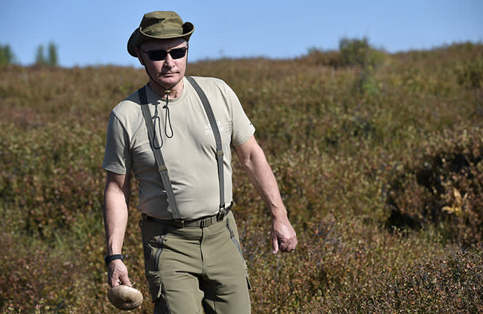 Russia's President Vladimir Putin is seen during his vacation in Sayano-Shushensky nature reserve in the Republic of Tyva (Tuva Region), Russia August 26, 2018. Picture taken August 26, 2018. Sputnik/Alexei Nikolsky/Kremlin via REUTERS ATTENTION EDITORS - THIS IMAGE WAS PROVIDED BY A THIRD PARTY.