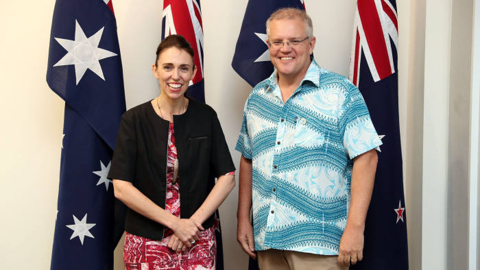 "This handout photo taken on August 14, 2019 and released on August 15 by the Australian Prime Minister's Office shows Australia's Prime Minister Scott Morrison talking with New Zealand Prime Minister Jacinda Ardern at the Pacific Islands Forum in Tuvalu. - Australia's Scott Morrison arrived at a meeting of Pacific island leaders in Tuvalu with Canberra's regional leadership in question amid intense scrutiny of his government's climate change policies. (Photo by Adam TAYLOR / AUSTRALIAN PRIME MINISTER'S OFFICE / AFP) / XGTY -----EDITORS NOTE --- RESTRICTED TO EDITORIAL USE - MANDATORY CREDIT ""AFP PHOTO / AUSTRALIAN PRIME MINISTER'S OFFICE "" - NO MARKETING - NO ADVERTISING CAMPAIGNS - DISTRIBUTED AS A SERVICE TO CLIENTS - NO ARCHIVESADAM TAYLOR/AFP/Getty Images"