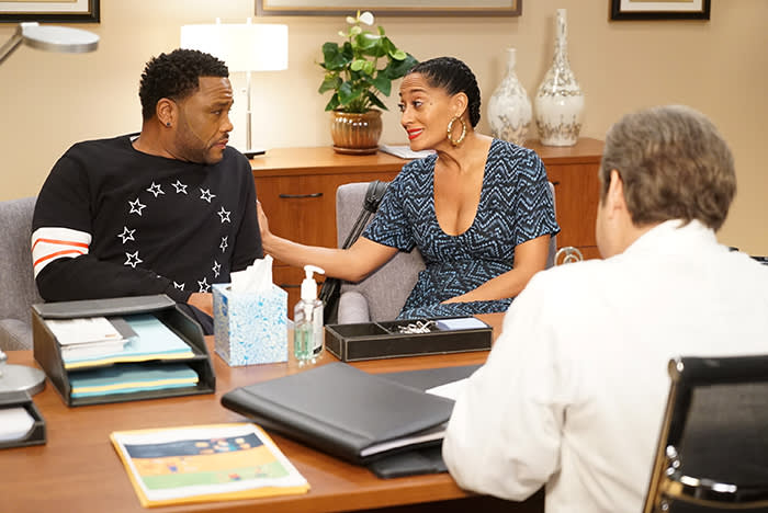 """BLACK-ISH - """"Sugar Daddy"""" - Dre is diagnosed with Type 2 Diabetes and after talking to Pops, he's resolved to curing himself. Things come to a head at the Stevens & Lido holiday party. Meanwhile, Jack is convinced that baby Devante hates him, so he enlists Junior and Diane's help, on """"black-ish,"""" airing as part of Disney