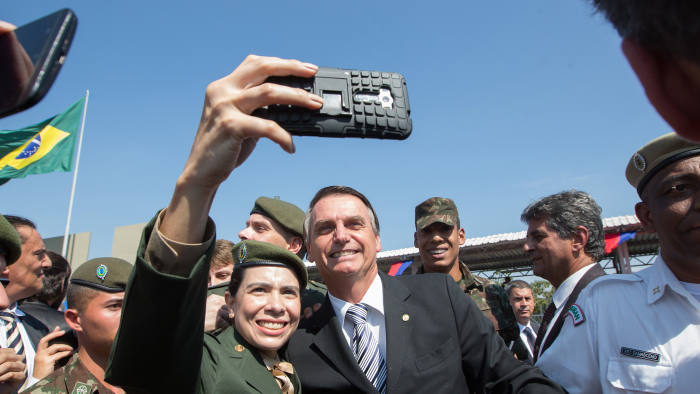 Brazilian far-right presidential candidate presidential canditate, Jair Bolsonaro attends an event ommemorating the Brazilian Army Day in Sao Paulo, Brazil, 03 May 2018. Photo: Paulo Lopes/ZUMA Wire/dpa