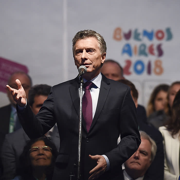 BUENOS AIRES, ARGENTINA - OCTOBER 06: Mauricio Macri president of Argentina speaks during the opening ceremony of the Buenos Aires 2018 Youth Olympic Games at Obelisco monument on October 06, 2018 in Buenos Aires, Argentina. (Photo by Marcelo Endelli/Getty Images)