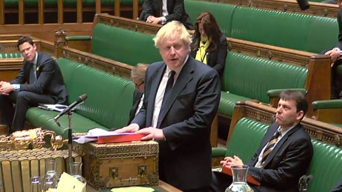 """A video grab from footage broadcast by the UK Parliament's Parliamentary Recording Unit (PRU) shows Britain's Foreign Secretary Boris Johnson speaking during an urgent question to the house on government policy toward Russia in the House of Commons in central London on March 6, 2018 following a major incident in Salisbury sparked when a man and a woman were found critically ill on a bench at The Maltings shopping centre on March 4. British police raced Tuesday to identify an unknown substance that left a former Russian double agent fighting for his life, in what a senior lawmaker said bore the hallmarks of a Russian attack. Moscow said it had no information about the """"tragic"""" collapse of the man, identified by the media as Sergei Skripal, in the quiet southern English city of Salisbury on Sunday, but said it would be happy to cooperate if requested by British authorities. Specialist officers from the counter-terrorism squad are helping investigate the incident, which also left a 33-year-old woman -- reported to be Skripal's daughter Yulia -- in a critical condition in what is feared to be a poison plot. / AFP PHOTO / PRU AND AFP PHOTO / Handout / RESTRICTED TO EDITORIAL USE - MANDATORY CREDIT """" AFP PHOTO / PRU """" - NO USE FOR ENTERTAINMENT, SATIRICAL, MARKETING OR ADVERTISING CAMPAIGNSHANDOUT/AFP/Getty Images"""