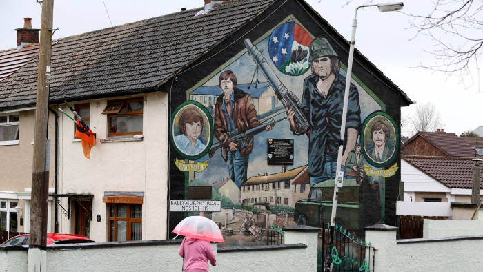 A Republican mural is seen in west Belfast, on the 20th anniversary of the Good Friday Agreement on April 10, 2018. / AFP PHOTO / Paul FAITH (Photo credit should read PAUL FAITH/AFP/Getty Images)