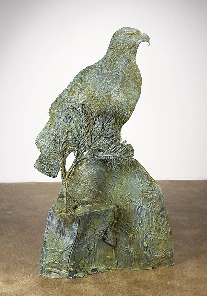 "Kiki Smith, Eagle in the Pines, 2017, bronze with patina, 58"" x 21-5/16"" x 34-1/4"" (147.3 cm x 54.2 cm x 87 cm), Edition 1 of 3, Edition of 3 + 1 AP, SCULPTURE, No. 68952.01 Format of original photography: digital"
